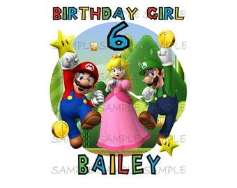 Personalized Super Mario Brothers Birthday Girl or Boy Printable IMAGE   Use as Iron On T-shirt Transfer Download Luigi Princess Peach DIY