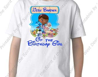 Little Brother of the Birthday Girl Doc McStuffins Iron On Disney T-shirt Printable Digital Download Dottie Hattie the Hippo party Favour