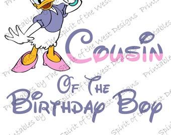 Cousin of the Birthday Boy Iron on IMAGE Daisy Duck shirt Printable Clip Art Disney Shirt Party T-shirt Download Mickey Minnies DIY