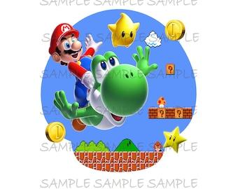 Super Mario Riding Yoshi Birthday Boy Image Use as Printable T-shirt Transfer Instant Digital Download Luigi DIY you PRINT
