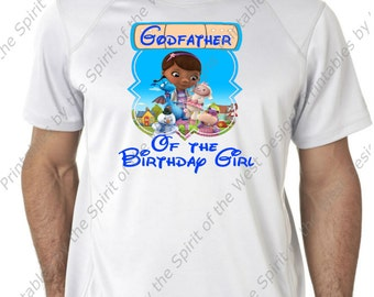 Godfather of the Birthday Girl Doc McStuffins Iron On Disney T-shirt Printable Digital Download Dottie Hattie the Hippo party Favour