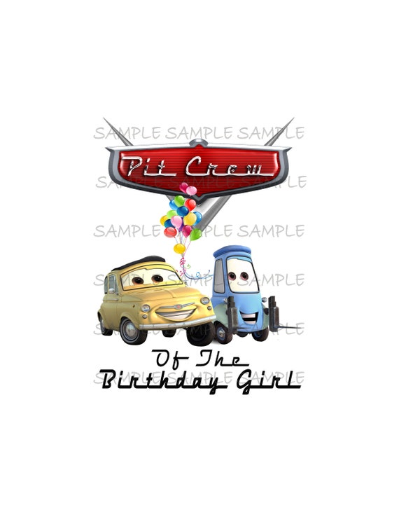 buy online df197 52cf3 Pit Crew of the Birthday Girl Cars IMAGE printable Iron On ...
