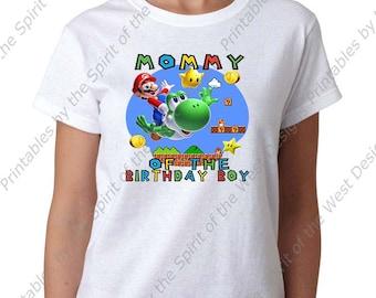 Mommy of the Birthday Boy Super Mario Brothers T-shirt Printable Digital Download Mario Luigi Princess peach Yoshi Koopa party