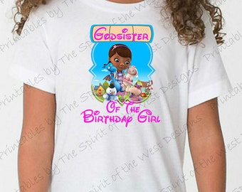 God Sister of the Birthday Girl Doc McStuffins Iron On Disney T-shirt Printable Digital Download Dottie Hattie the Hippo party Favour