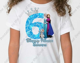 Sixth Birthday Girl Frozen Shirt Iron On T-shirt Transfer Printable Customize Digital Download Elsa Anna Olaf Party Favor clip art