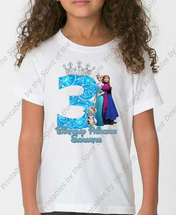 photograph about Printable Tshirt Transfers known as 3rd Birthday Woman Frozen Blouse Iron Upon Disney T-blouse