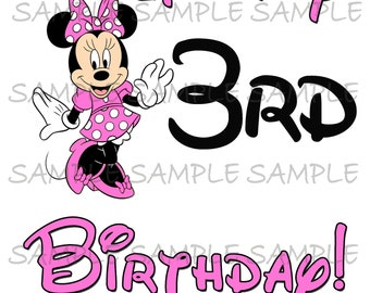My Third Birthday Pink Minnie Mouse IMAGE use as clip art or print on Iron on transfers Printable DIY Party Instant Download