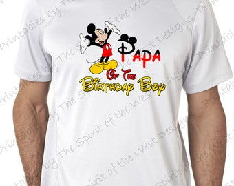 Papa of the Birthday Boy Mickey Mouse Iron on IMAGE Mouse Ears Printable Clip Art Disney Shirt Party T-shirt Transfer Download