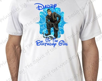 Daddy of the Birthday Girl Image Iron On Disney Frozen Theme T-shirt Transfer Printable Digital Download Elsa Anna Olaf party Favour DIY