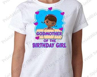 Godmother of the Birthday Girl Doc McStuffins Shirt Iron On Disney T-shirt Matching Family Clip art Scrapbook Printable Digital Download
