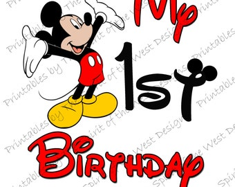 My First Birthday Mickey Mouse Printable Party IMAGE Use as Iron On T-shirt Transfer Clip Art DIY Instant Download
