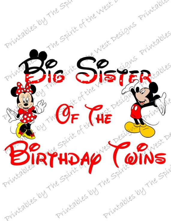 Grande Sœur De Lanniversaire Jumeaux Minnie Et Mickey Mouse Sur Image Souris Oreilles Clip Imprimable Art Disney Chemise T Shirt Party Télécharger