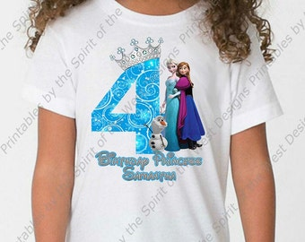 Custom Fourth Birthday Girl Frozen IMAGE Printable Digital Download Elsa Anna Olaf DIY | You send me the name, I add it and Email the file