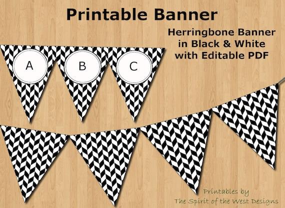 graphic regarding Checkered Flag Printable named Black and White Herringbone Banner Editable PDF Printable