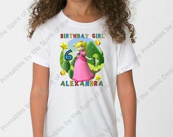 Personalized Super Mario Brothers Birthday Girl Iron On T-shirt Transfer Printable Instant Digital Download Luigi Princess Peach Yoshi DIY