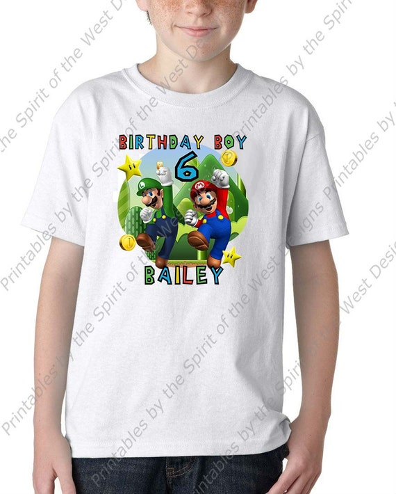 picture regarding Printable Tshirt Transfers named Customized Tremendous Mario Brothers Birthday Boy Iron Upon T