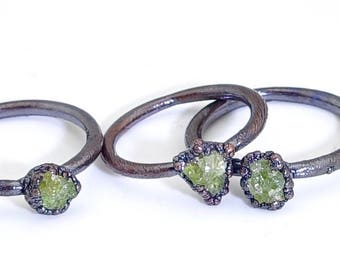 Raw peridot ring, raw ring, peridot ring, raw crystal ring, raw stone ring, electroformed ring, electroformed ring, August birthstone ring