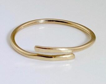 Dainty gold ring, thin gold ring, 14K gold ring, delicate gold ring, simple gold ring, adjustable gold ring, thin adjustable ring, wrap ring
