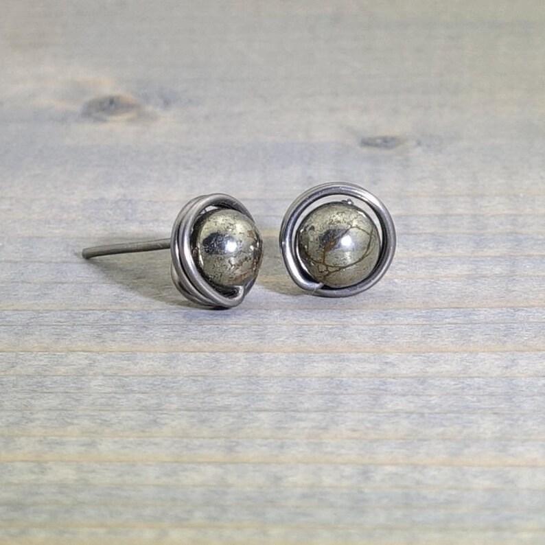 a43c5e18c Gold pyrite stud earrings niobium stud earrings niobium | Etsy