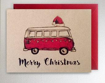 Merry Christmas VW Van Christmas Santa Card Volkswagon