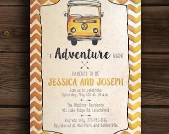 The Adventure Begins ~ Yellow VW Volkswagon Van Baby Shower Invitation