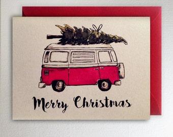 Merry Christmas VW Van Christmas Tree Card Volkswagon