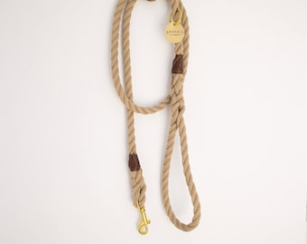 Sand Brown Rope Dog Leash // Rope Dog Lead - Strong Dog Leash - Brass Dog Leash - Australia