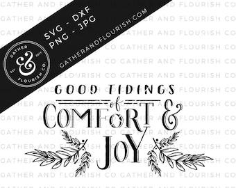 Good Tidings of Comfort & Joy Sign SVG, Christmas SVG, Christmas Stencil File, Holiday SVG, Holiday Cut File, Farmhouse Sign Stencil File