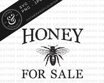 Honey for Sale SVG Cut File (Two Versions Included), Stencil Cut File, Farm Fresh SVG, Farmhouse Sign, Farmhouse Sign Stencil, Farmhouse SVG