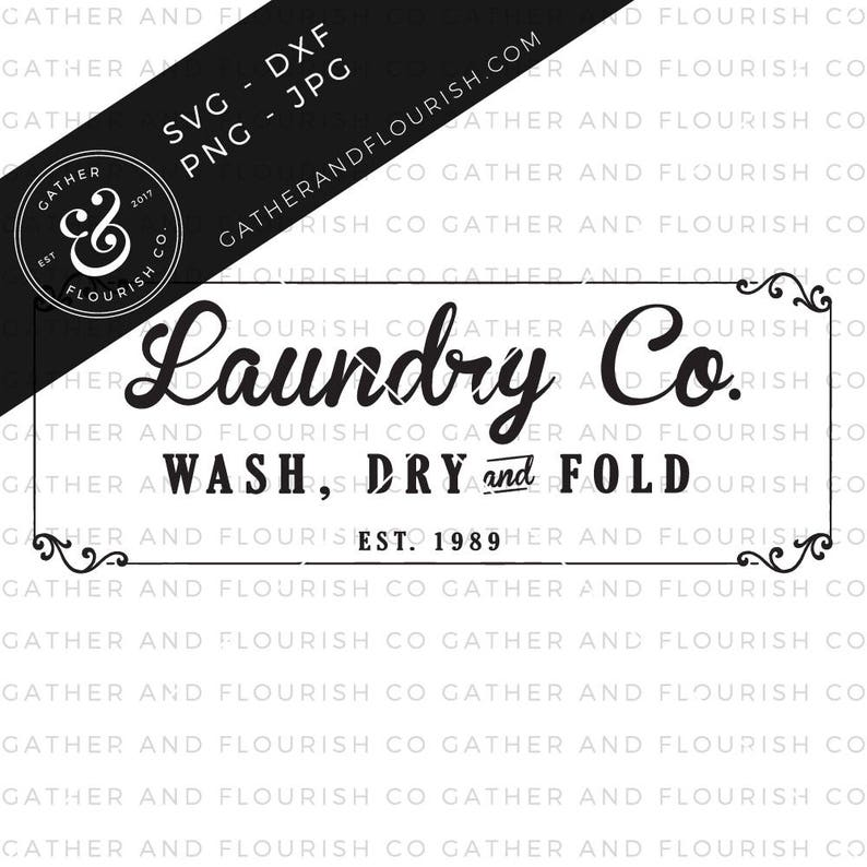 Laundry Sign SVG Cut File Stencil Cut File Laundry Room image 0