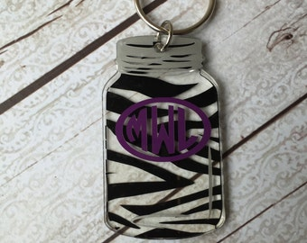 Houndstooth Mason Jar Keychain Personalized Keychain ~ Monogram Keychain ~ Roll Tide ~ Houndstooth Keychain ~ Southern Girl Gifts