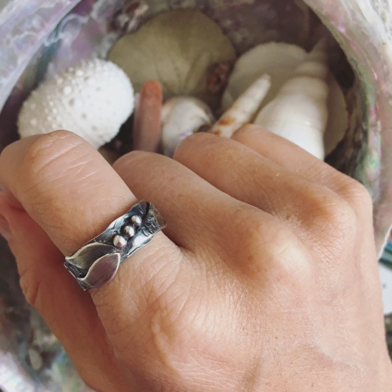 Mermaid Tail Ring Handmade to Order in Your Size The MIRANDA Ring HammeredTextured Wraparound Silver Ring
