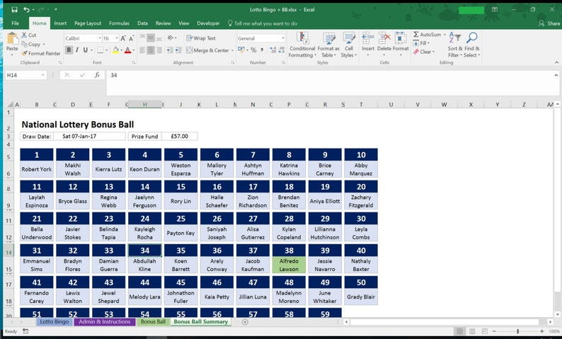 UK National Lottery, Lotto Bingo and Bonus Ball, Syndicate for work, club  or pub  Microsoft Excel Spreadsheet