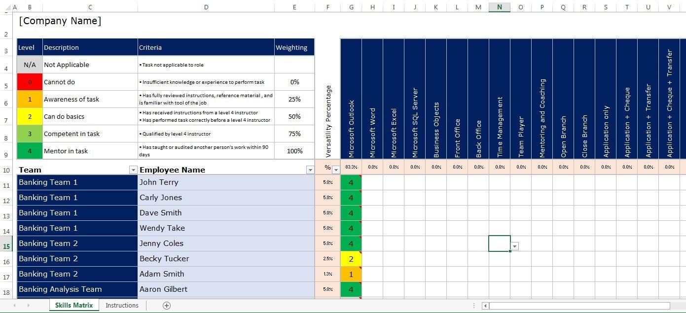 Microsoft Excel Spreadsheet Employee Staff Office Skills Etsy