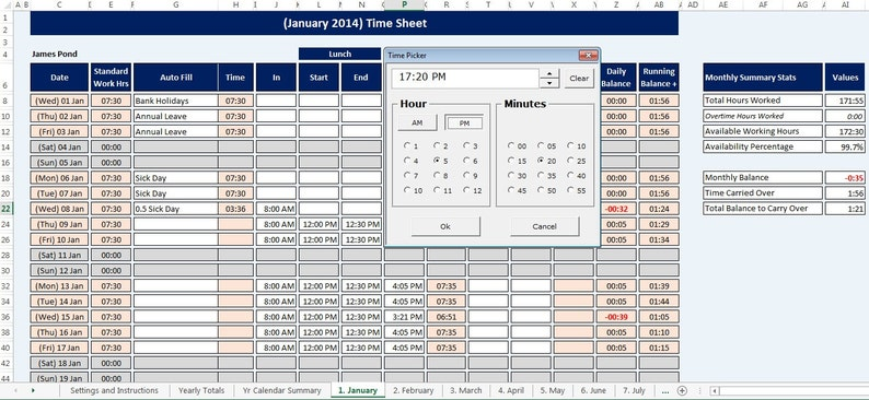 Calendario Presenze Excel.Dipendente Foglio Presenze Personale E Calendario Riutilizzabile Foglio Di Calcolo Di Microsoft Excel