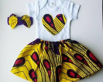 Ankara baby bodysuit , skirt, headband/kente girls dress/ African baby dress.