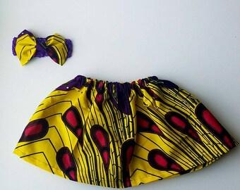 Ankara Baby and Girls Skirt with headband