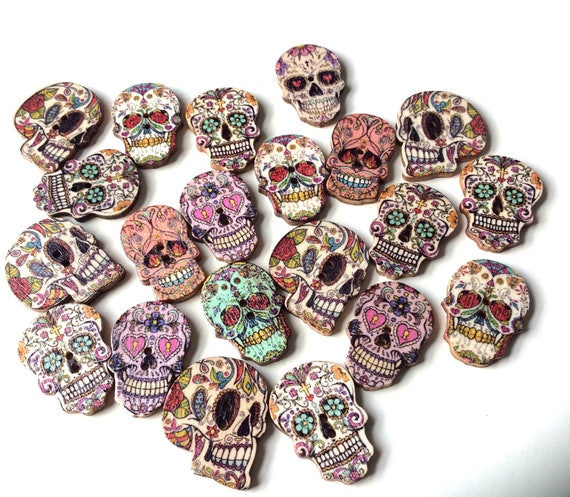 10 Skull Buttons Day Of The Dead Wooden Embellishments Skullscraft Wooden Jewellery Supplies