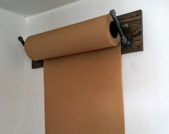 Kraft Paper Dispenser; Wall Mount; Industrial Pipe; Industrial Decor