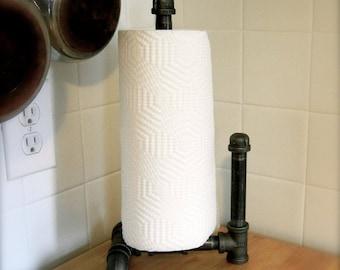 Industrial Paper Towel Holder, Plumbing Pipe Repurposed Industrial Decor; Industrial Decor