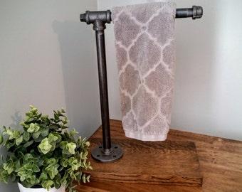 Towel rack, towel bar, towel holder rod hand towel holder bath towel industrial bathroom rustic towel rack steampunk iron pipe door handle