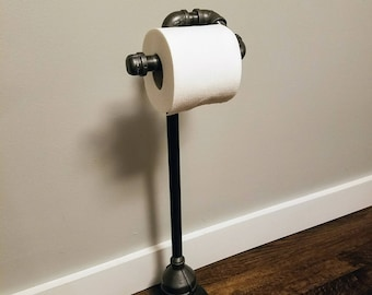 Industrial toilet paper holder, Free Standing; Industrial Decor, steampunk decor