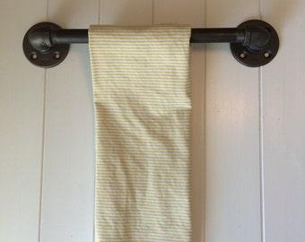 """Towel Bar,  Industrial Kitchen Towel Bar - Bath Towel Bar -6"""" or 8""""- Steampunk; Industrial Decor"""