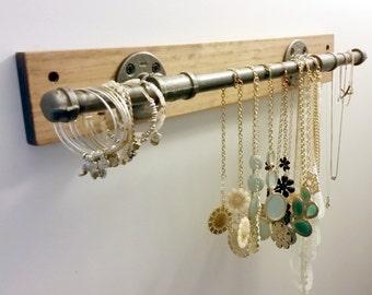 Industrial Jewelry Holder; Jewelry Display; Iron Pipe Jewelry Bar; Wall Mounted Jewelry Bar; Industrial Decor