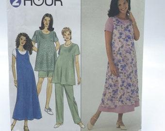 Simplicity 8589 Womens Plus Size Maternity Sleeveless Jumper Dress Top Pants Shorts Size 18 20 22 Uncut Sewing Pattern