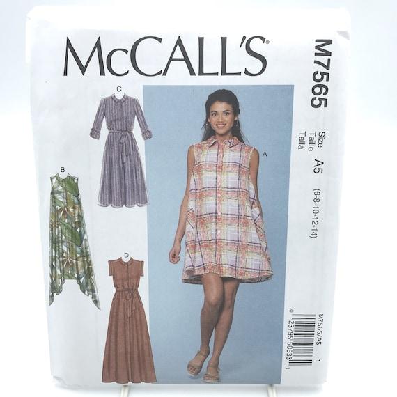ccd73c3834 McCalls 7565 Misses Shirtwaist Dress w Belt Loose Fitting Size
