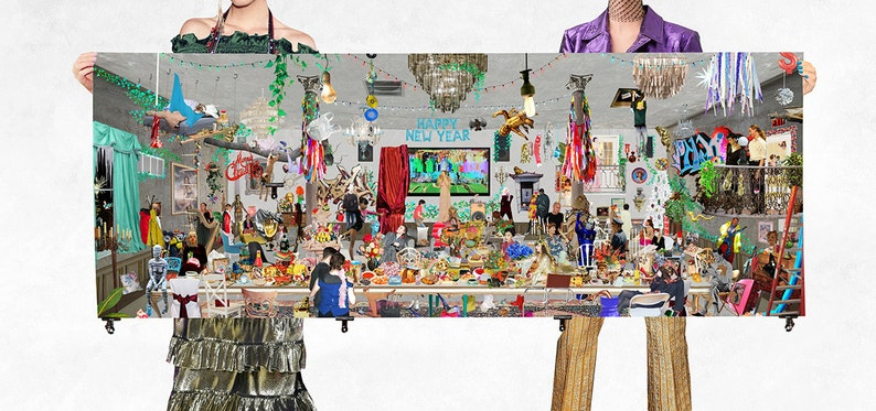 Merry Christmas And Happy New Year Collage Print  Weird image 0