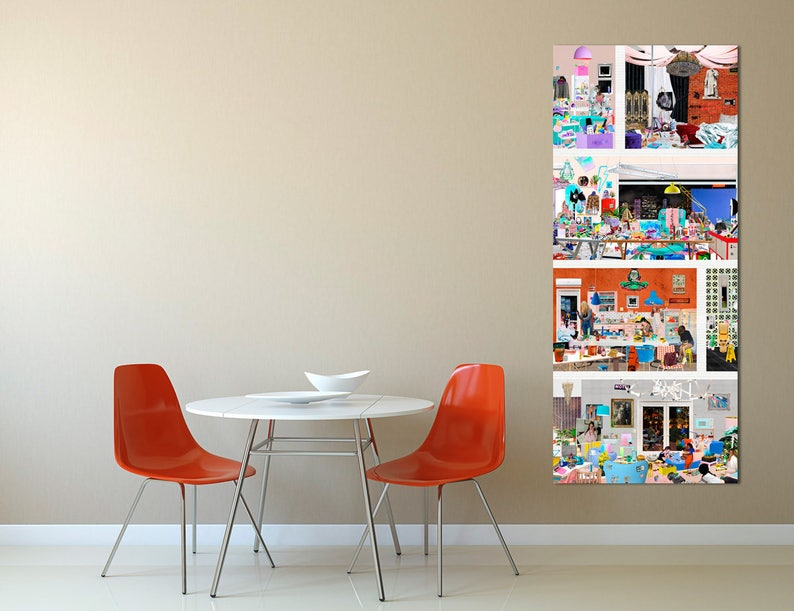 Girls Apartment Illustration Print  Colorful Collage Poster  image 0