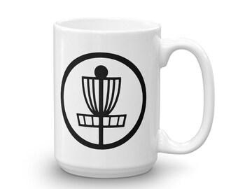 Disc golf coffee mug, disc golf basket, frisbee golf,  ace, basket