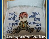 Snips and Snails Puppy Dog Tails Boy Wispy Filled, Reading Pillow Saying Pocket Pillow 5x7 7x11 Machine Embroidery Design INSTANT DOWNLOAD